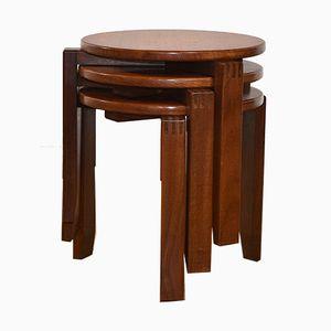 Tavolini ad incastro rotondi in teak, anni '60