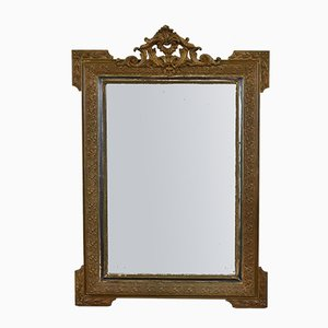 19th Century French Gilt Crested Beveled Mirror