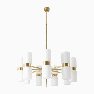Brass and Milky Opaline Glass Chandelier by Hans-Agne Jakobsson, 1960s