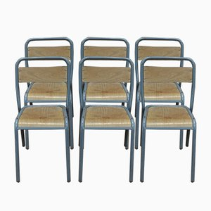 Beistellstühle mit Gestell aus Stahlrohr & Holzsitz von Henry Julien, 1950er, 4er Set