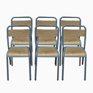 Beistellstühle mit Gestell aus Stahlrohr & Holzsitz von Henry Julien, 1950er, 6er Set