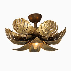 Hollywood Regency Brass Palm Ceiling Lamp from Maison Jansen, 1970s