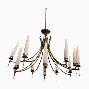 Lampadario Mid-Century moderno in ottone e vetro a 12 luci, anni '50