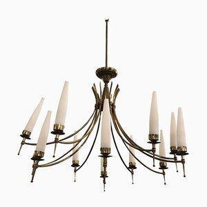 Mid-Century Modern Brass & Glass Twelve Light Italian Chandelier, 1950s