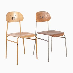 Vintage Plywood School Chairs, 1960s, Set of 2