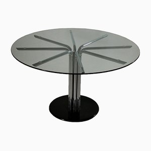 Vintage Italian Chromed Metal & Glass Table, 1970s