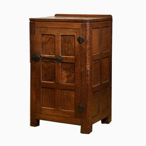 Vintage Paneled Oak Bedside Cabinet by Robert Mouseman Thompson