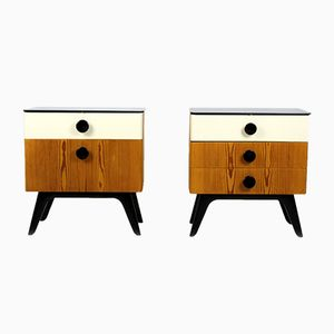 Mid-Century Nightstands with Black Glass Tops from UP Zavody, 1960s, Set of 2