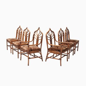Hollywood Regency Italian Bamboo Floral Dining Chairs, 1960s, Set of 6
