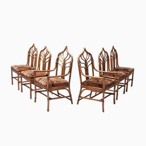 Sillas de comedor italianas Hollywood Regency florales de bambú, años 60. Juego de 6