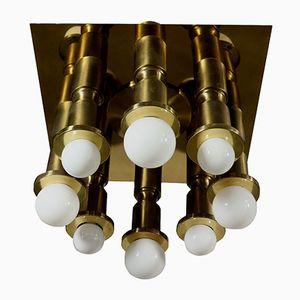Lampada da soffitto vintage in ottone, Italia, anni '60