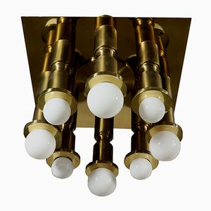 Vintage Italian Brass Ceiling Lamp, 1960s