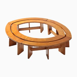 Vintage Curved Elmwood Benches by Pierre Chapo
