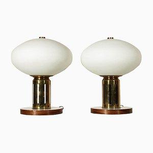 Lampes de Bureau Vintage en Bois, Laiton et Verre, Italie, 1960s, Set de 2