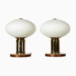 Vintage Italian Wood, Brass & Glass Table Lamps, 1960s, Set of 2