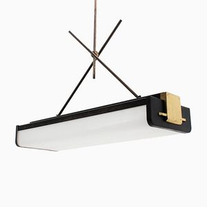 Mid-Century Italian Methacrylate & Brass Ceiling Neon Lamp from L.B.B.
