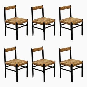 Sedie da pranzo in legno e paglia, anni '60, set di 6