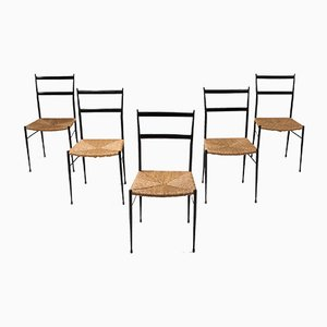 Vintage Superleggera Dining Chairs by Gio Ponti, 1969, Set of 5