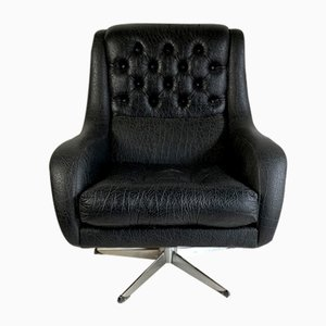 Vintage Black Skai Lounge Chair, 1960s
