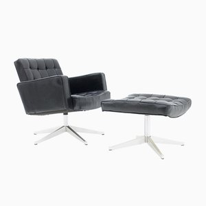 Ledersessel & Fußhocker von Vincent Cafiero für Knoll International, 1960er
