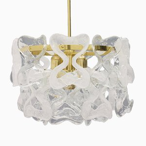 Austrian Brass and Glass Chandelier by J. T. Kalmar for Kalmar Franken KG, 1960s