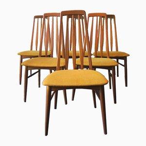 Sedie da pranzo Eva di Niels Koefoed per Hornslet Møbelfabrik, anni '60, set di 6