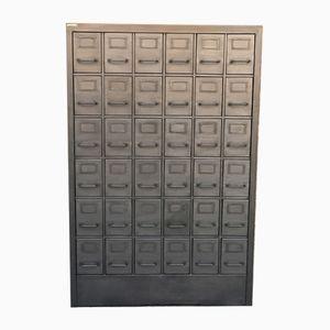 Vintage Industrial Brushed Steel 36-Drawer Filing Cabinet, 1950s