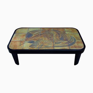 Cubist Coffee Table with Vallauris Tiles by Raymond Leduc, 1960s