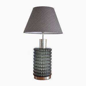 Lámpara de mesa de cristal ahumado, años 60