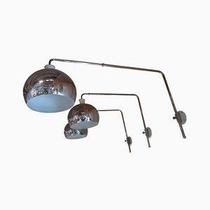 Italian Extendable Chrome-Plated Wall Lights by Goffredo Reggiani, 1970s, Set of 3