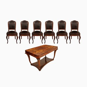 Art Deco Burl Walnut Table & 6 Chairs from Testolini & Salviati, 1920s