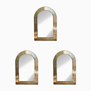 Espejos de pared italianos de latón dorado, años 70. Juego de 3
