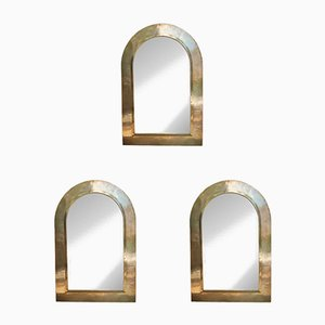 Italian Gilded Brass Wall Mirrors, 1970s, Set of 3