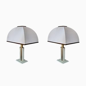 Brass & Lacquer Table Lamps by Romeo Rega, 1970s, Set of 2