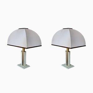 Lampes de Bureau en Laque et Laiton par Romeo Rega, 1970s, Set de 2