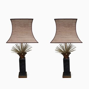 Vintage Spanish Marble and Brass Table Lamps, Set of 2