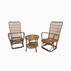 Bamboo Armchairs with Occasional Table, 1960s