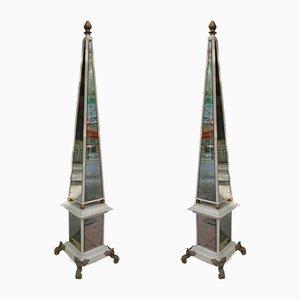 Vintage French Mirror and Wood Obelisks, Set of 2