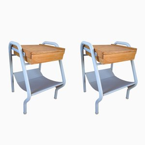 Vintage Nightstands by Jacques Hitier for Tubauto, 1950s, Set of 2