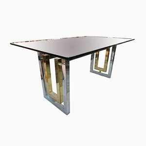 Vintage Italian Glass and Metal Dining Table by Romeo Rega