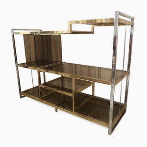 Italian Brass and Chrome Shelving Unit by Romeo Rega, 1970s