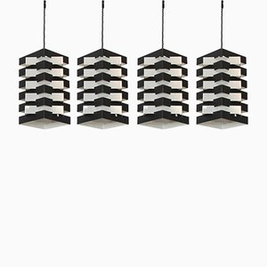 Black & Aluminium Pendant Lamps by Hoogervorst for Anvia, 1960s, Set of 4