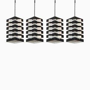 Lampes à Suspension en Noir et Aluminium par Hoogervorst pour Anvia, 1960s, Set de 4