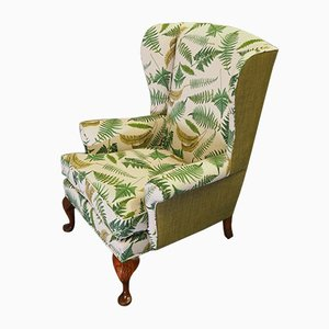 Antique Queen Anne Style Walnut & Botanical Upholstery Wingback Chair