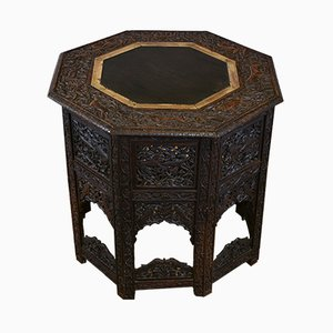 Grande Table d'Appoint Octogonale Pliante Anglo-Indienne, 1920s