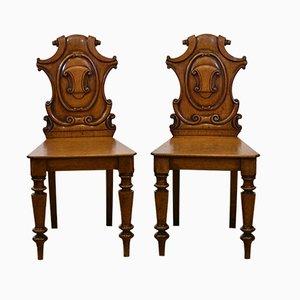 Chaises pour Entrée Victoriennes en Chêne Doré, Set de 2