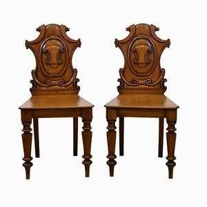 Victorian Golden Oak Shield Back Hall Side Chairs, Set of 2