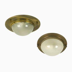 Lampade da parete o da soffitto in ottone e vetro, anni '50, set di 2