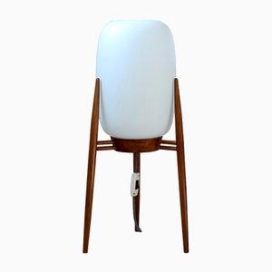 Lámpara de pie trípode era espacial de vidrio y madera, años 60