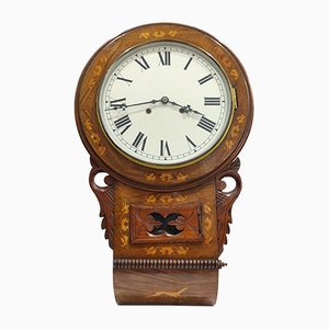 Victorian Wall Clock with Inlays, 1890s